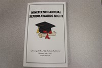 pamphlet reads nineteenth annual senior awards night with graduation cap graphic underneath