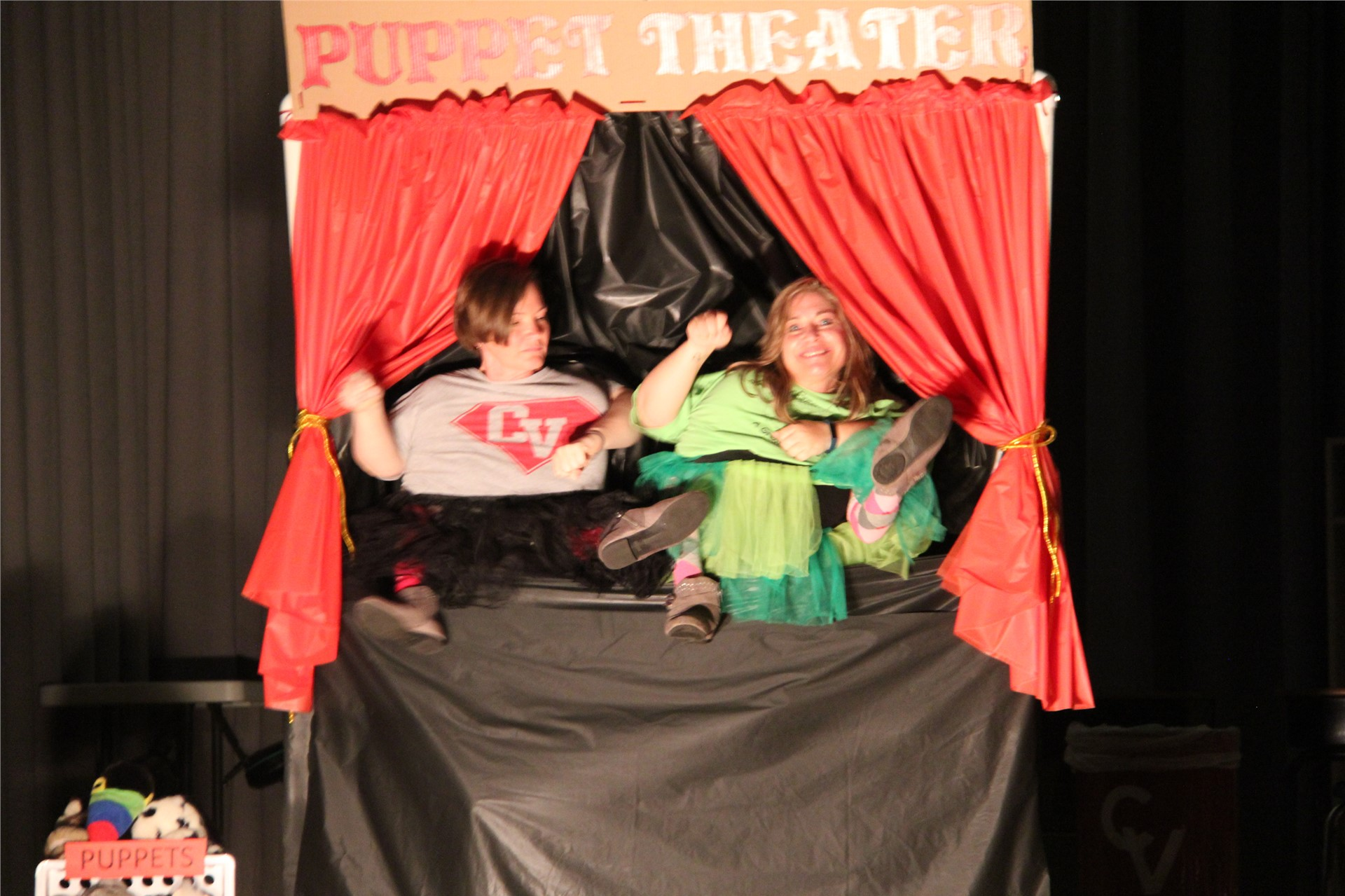 teachers pretend to be puppets in talent show