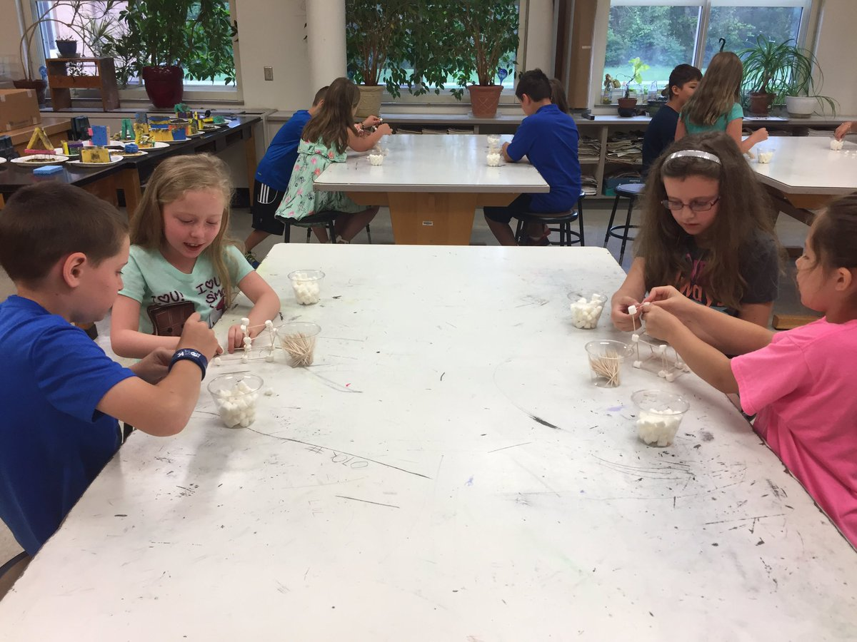 students from summer steam program working on marshmallow towers