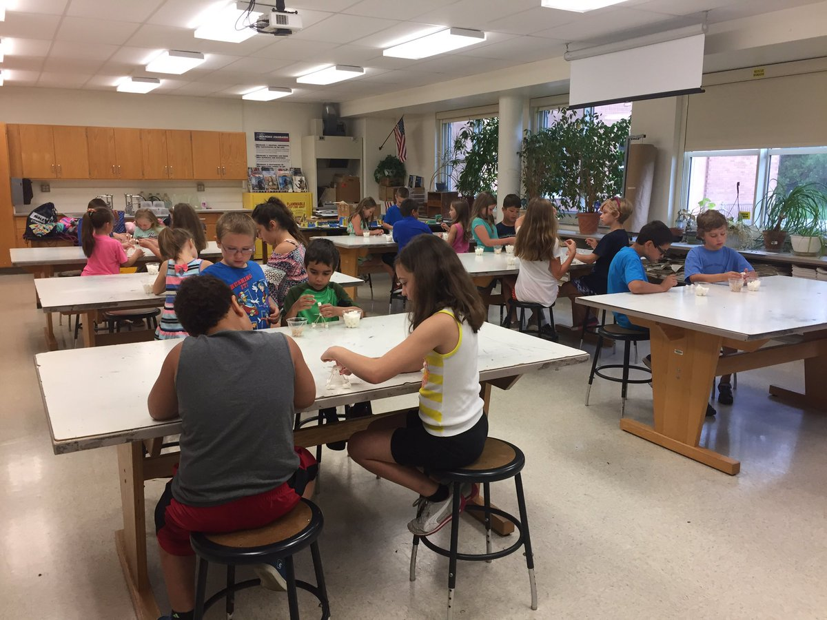 wide classrooom shot of c v summer steam program students working on marshmallow towers