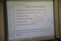 smart board that shows trial five pancake recipe