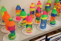 colorful bottle creations by c v summer steam program students