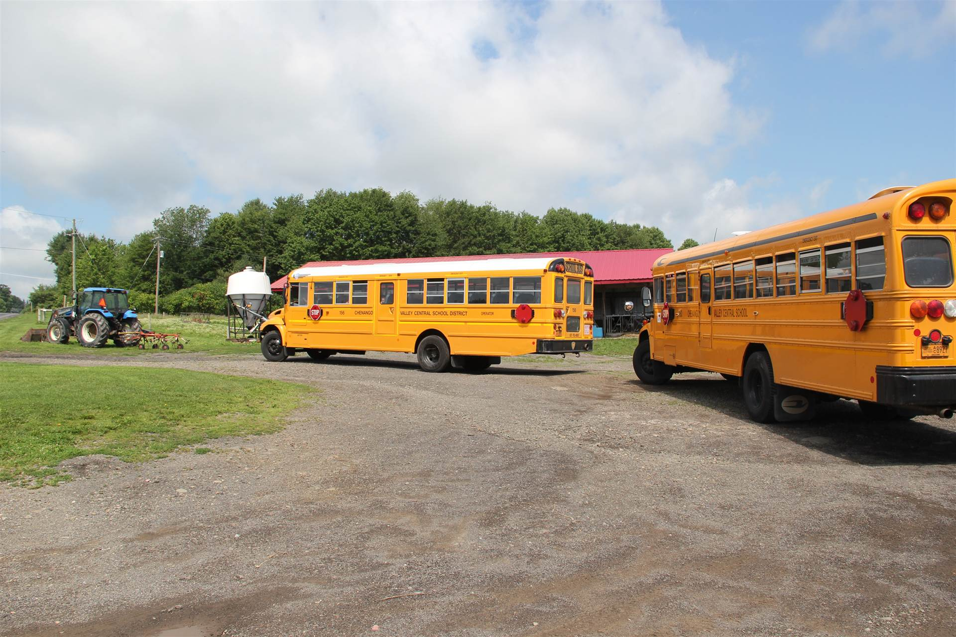 two chenango valley buses parked at dutch hill creamery