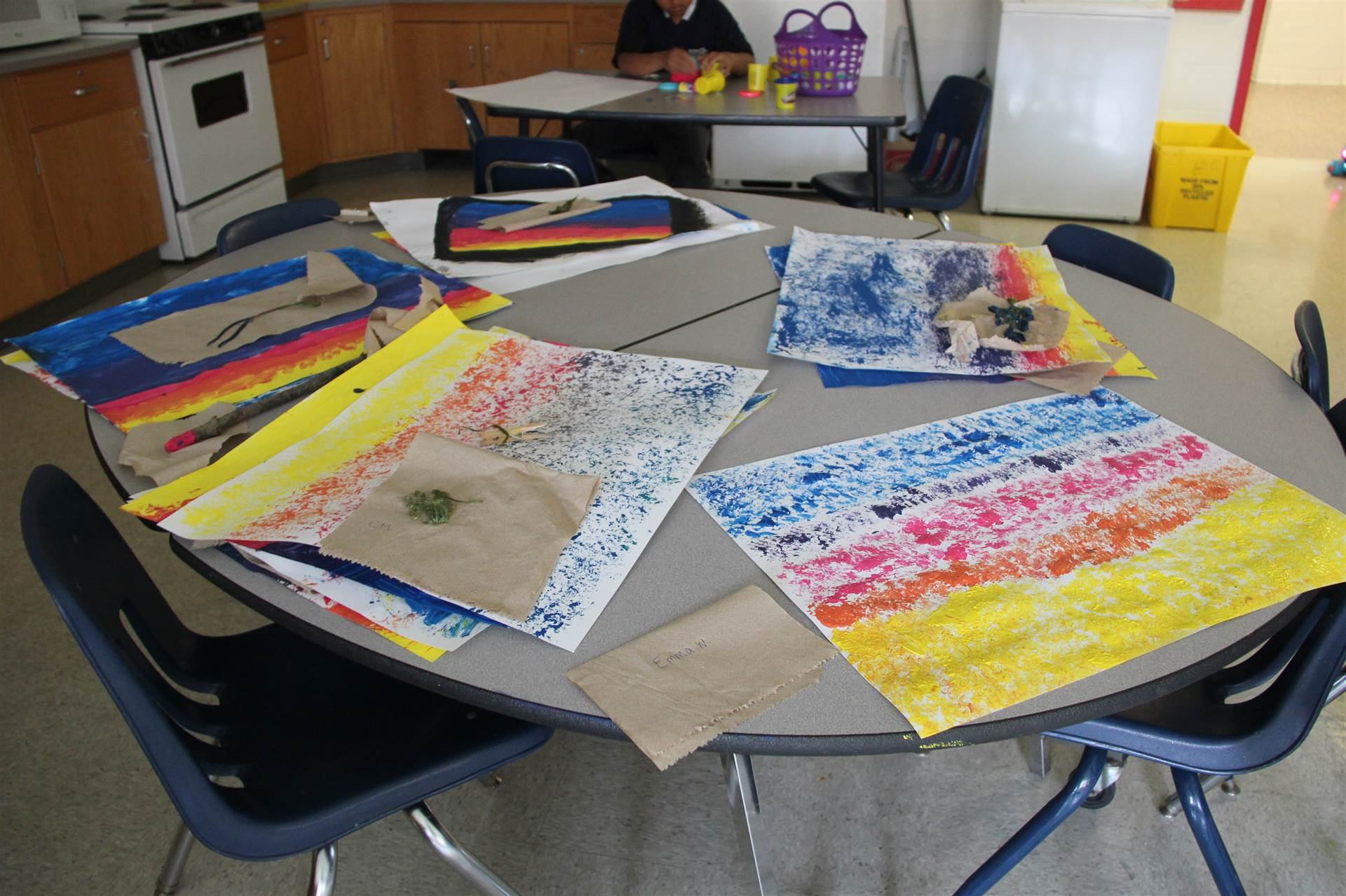 five colorful art paintings summer steam students made using items from nature