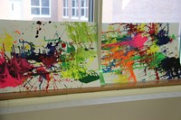 colorful art projects created by students in c v summer steam program