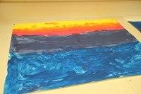 colorful painting done using item from nature.