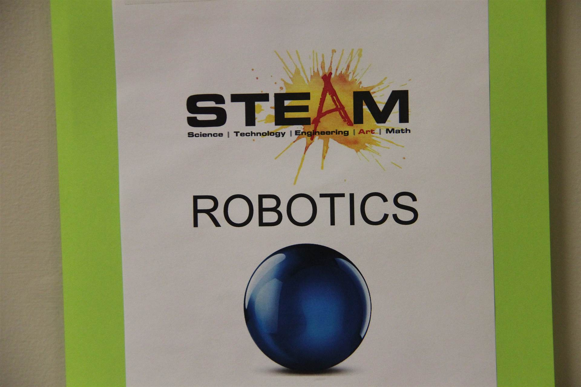 steam sign that reads robotics