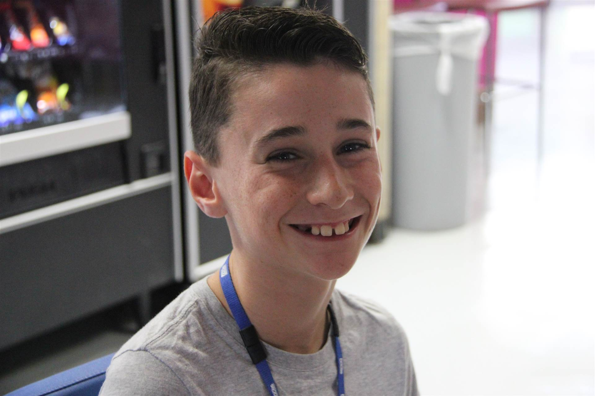 tyler hopkins smiles during lunch break at boces steam