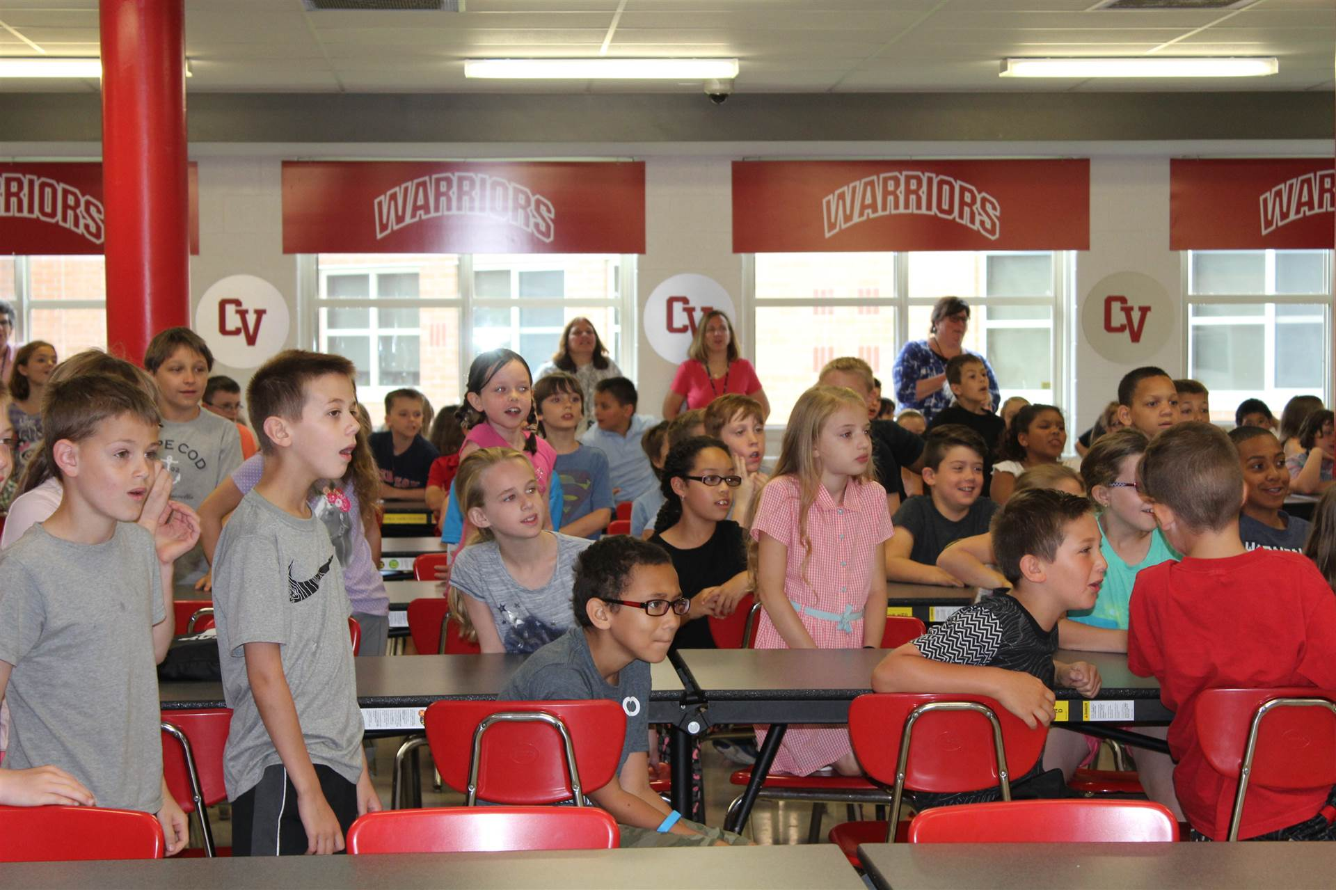 third grade students faces show suprise by monster mash reveal.