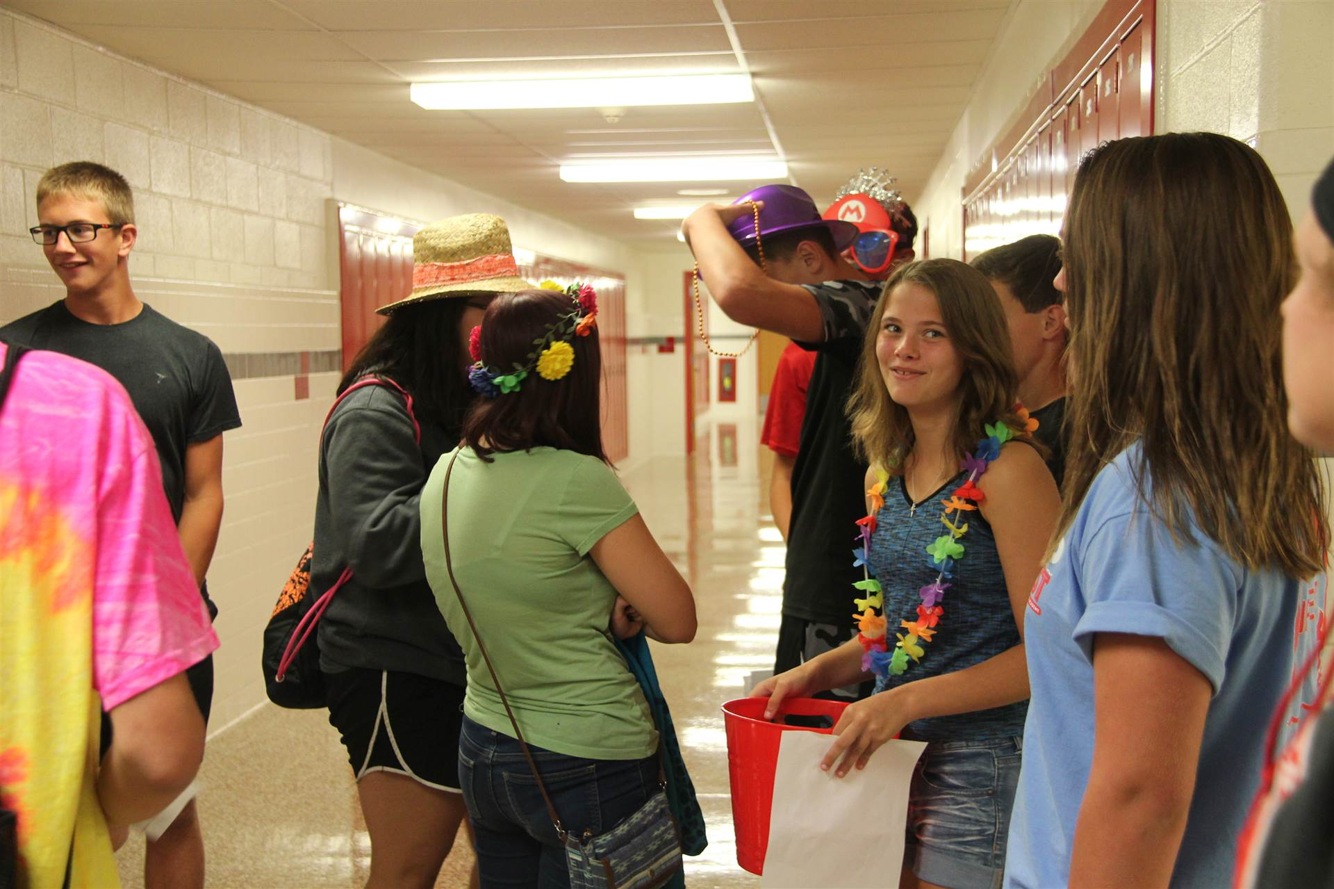 students taking part in scavenger hunt