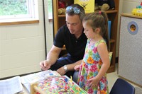 playing candyland at port dickinson elementary kindergarten orientation
