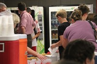 students get punch and cookies at middle school orientation