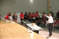 principal attleson introduces staff at middle school orientation