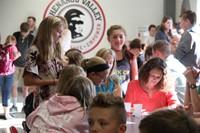 students in the middle school cafteteria at middle school orientation
