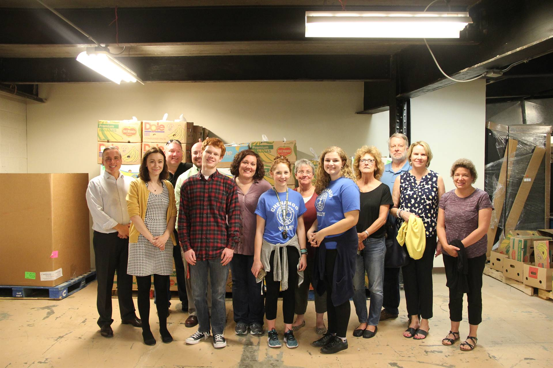 c v students staff and hillcrest rotary club members who helped fill bags of food for backpack progr
