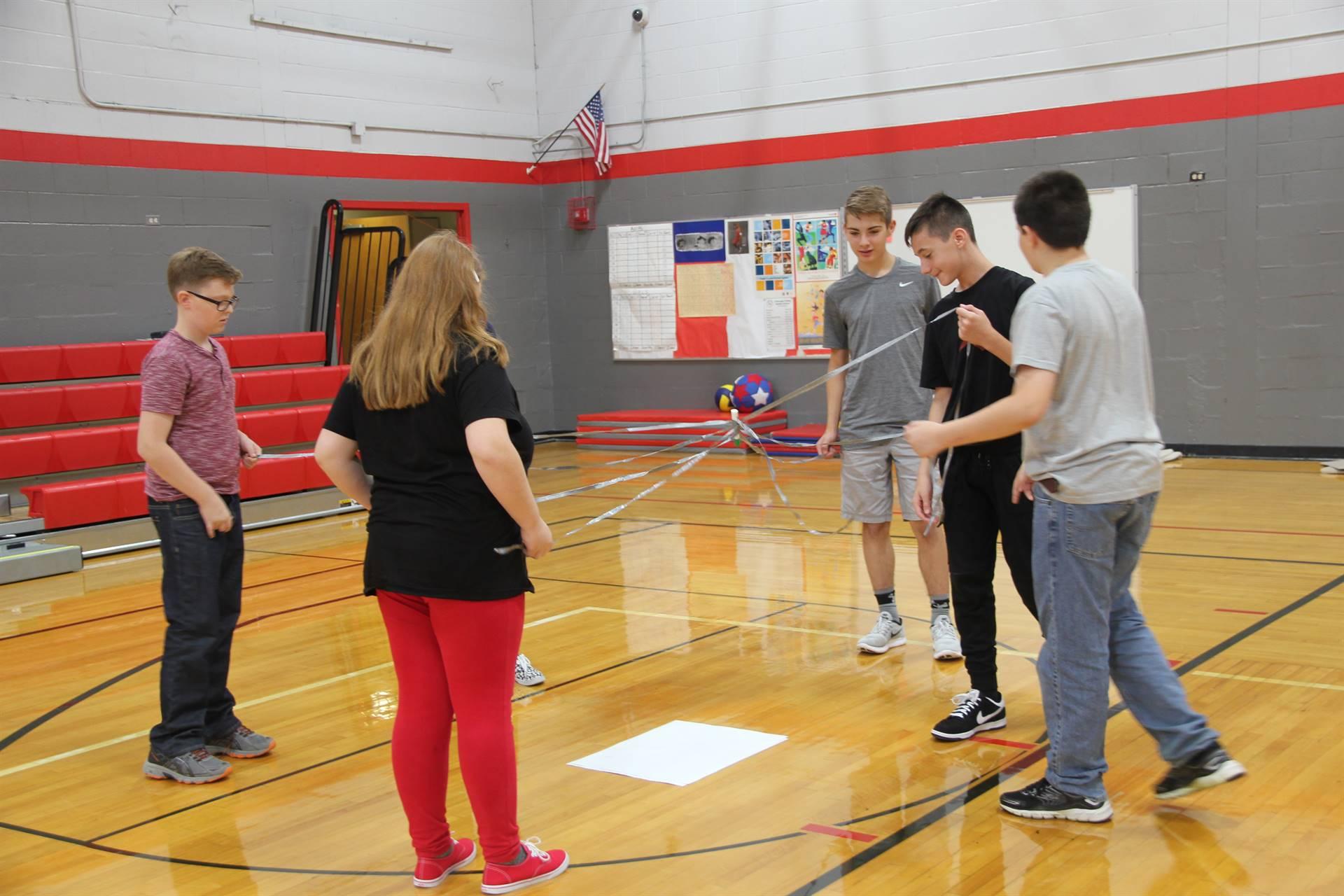 middle school students begin teamwork drawing challenge