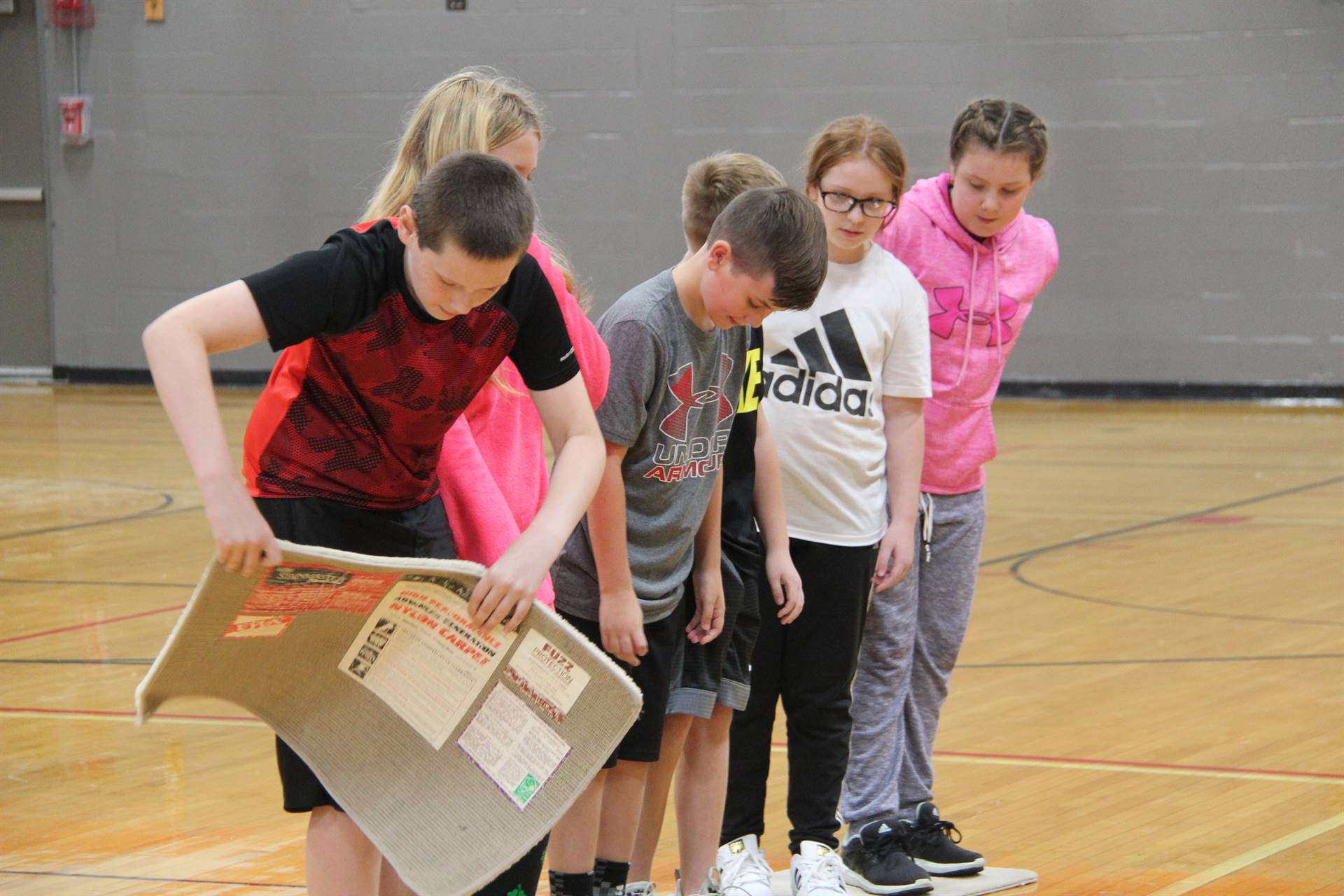 middle school students work together to beat lava game challenge