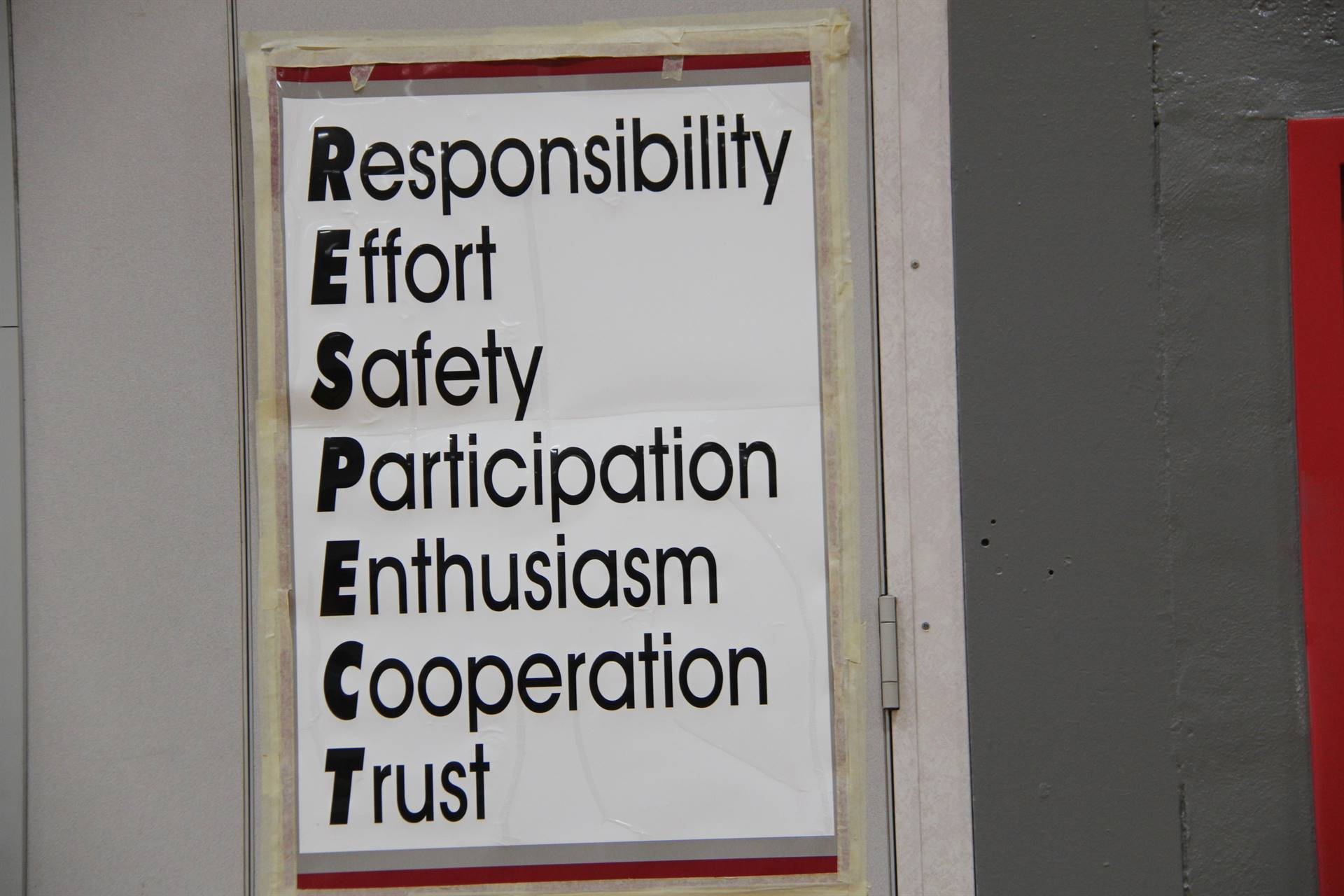 sign that spells out acronym of respec