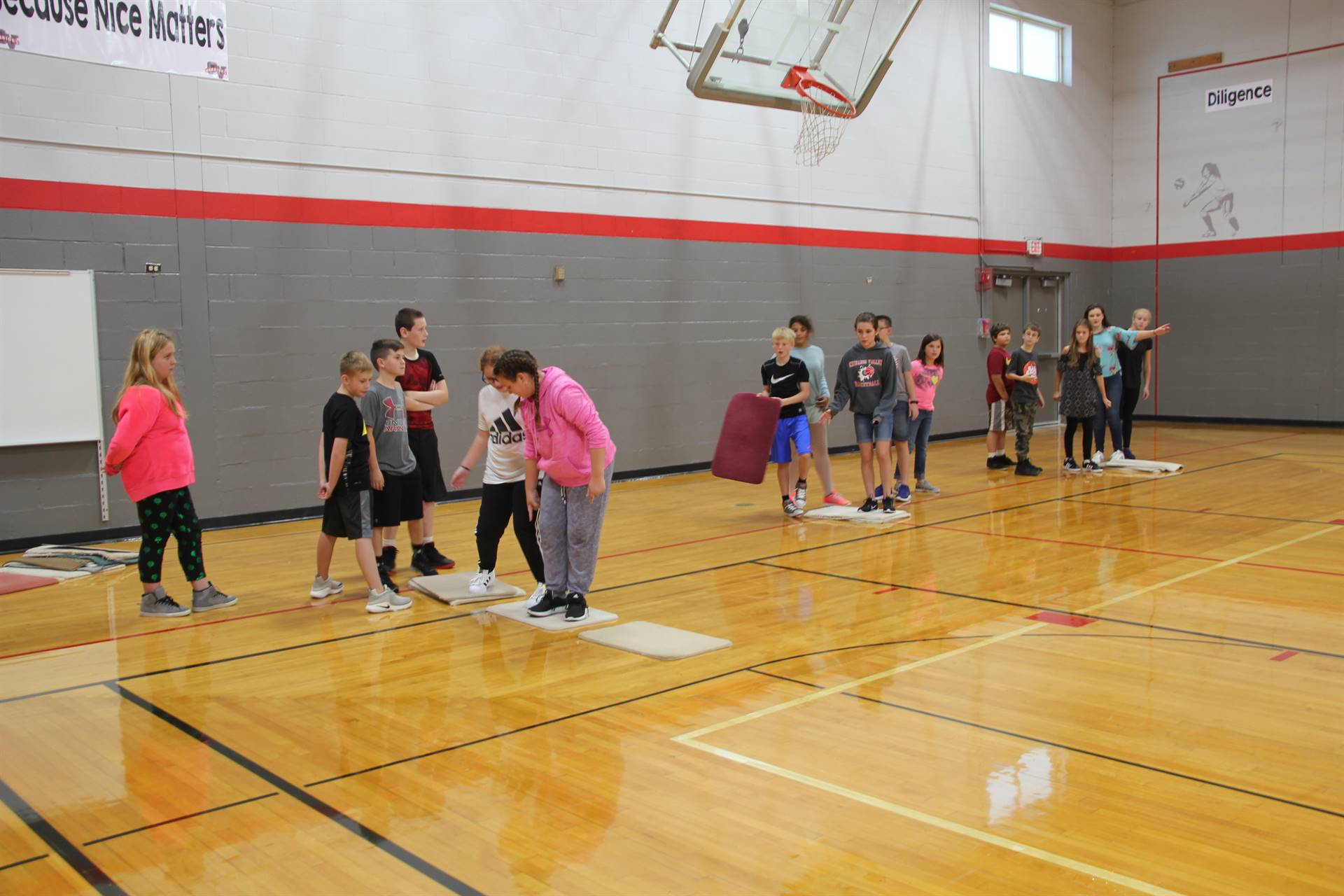 middle school students play game of lava for team building exercise