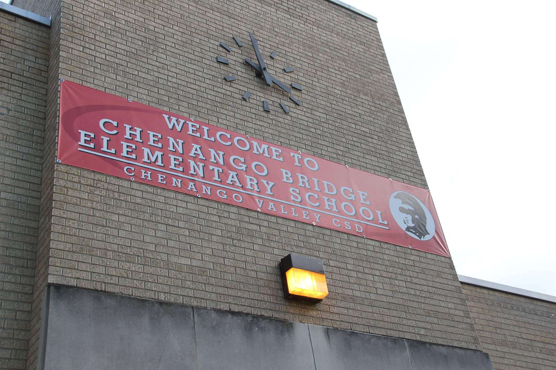 banner elementary school that reads welcome to chenango bridge elementary school