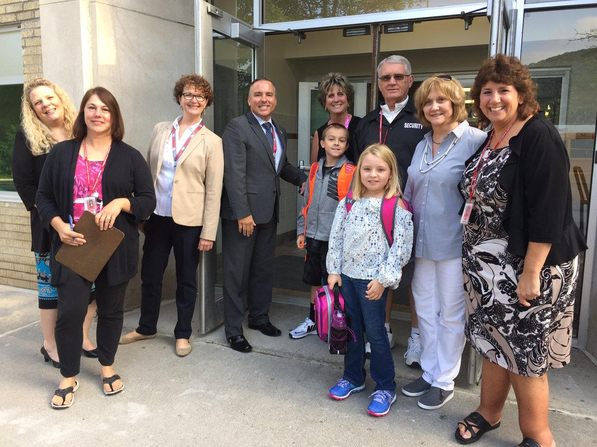 CV staff with students at Chenango Bridge Elementary on first day of school