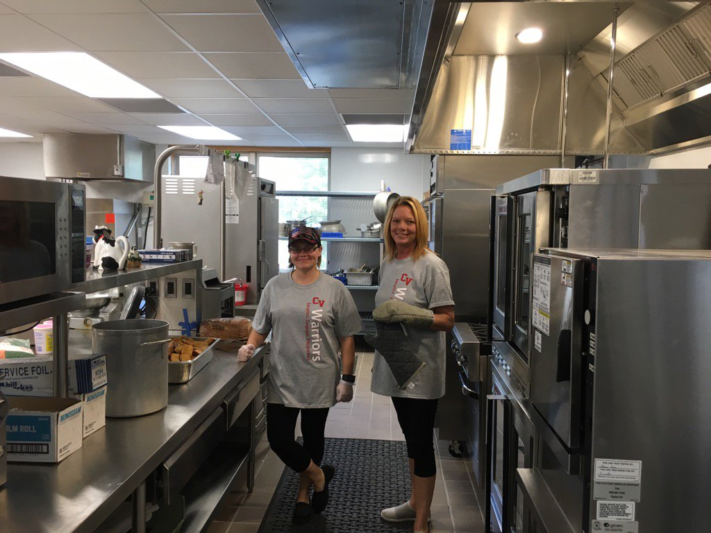 staff in the renovated chenango bridge elementary kitchen