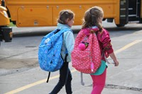 students walking toward port dickinson elementary school