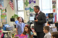superintendent gill meets new student who just transferred to port dickinson elementary