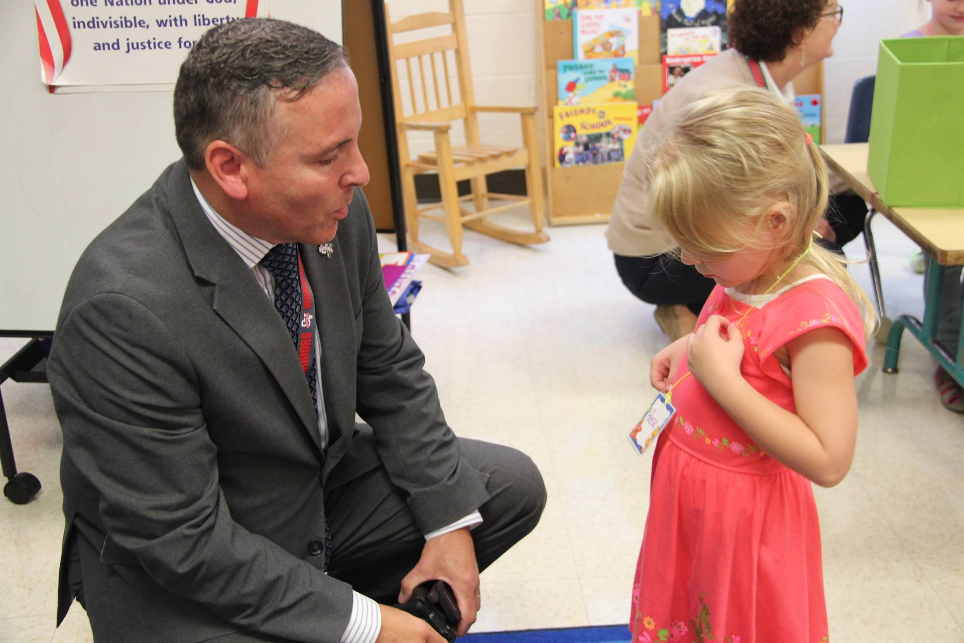 superintendent gill talks to student on first day