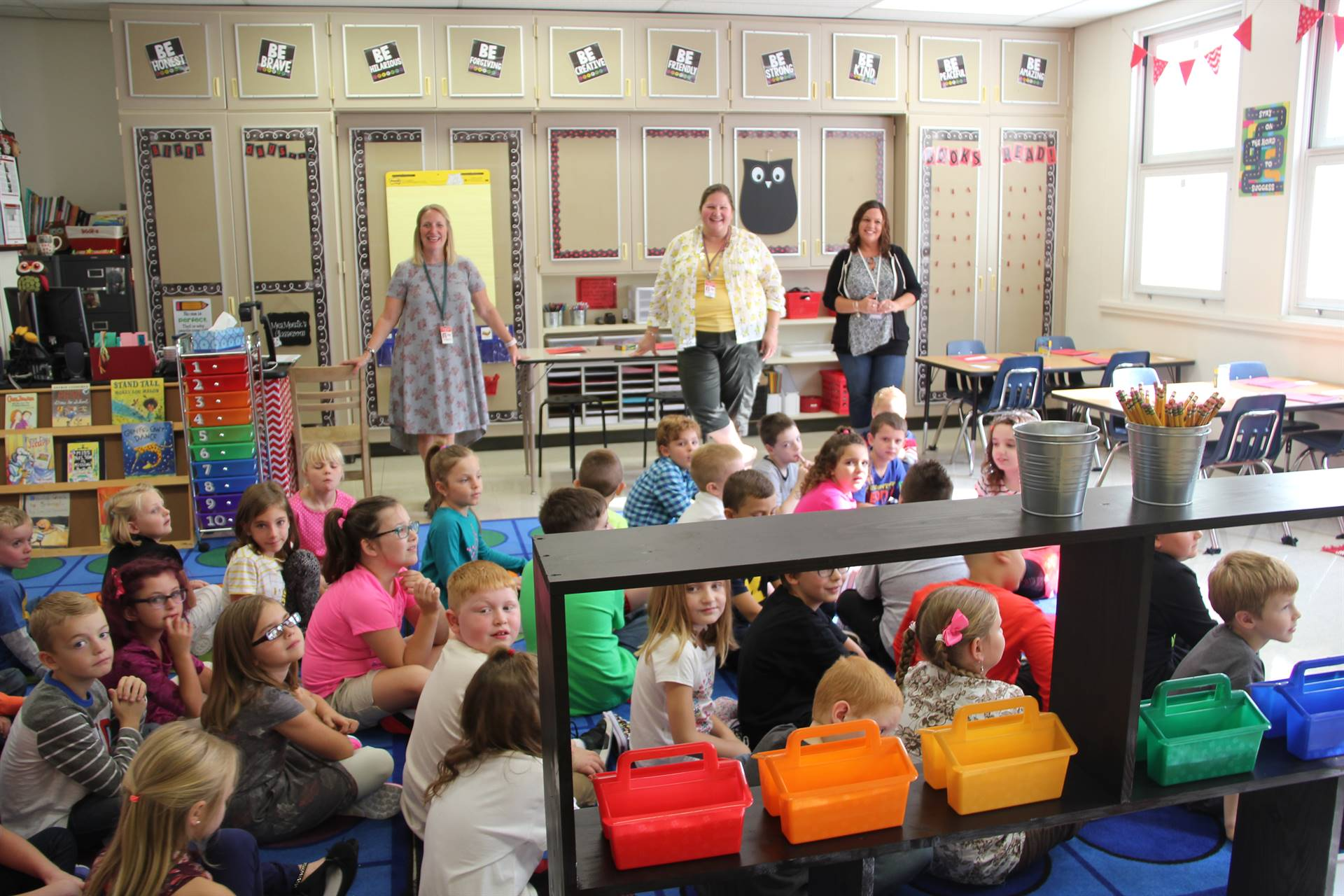 second grade classroom teachers and students