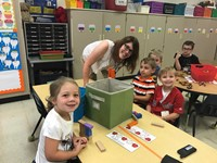 students and teachers smiles at port dickinson elementary