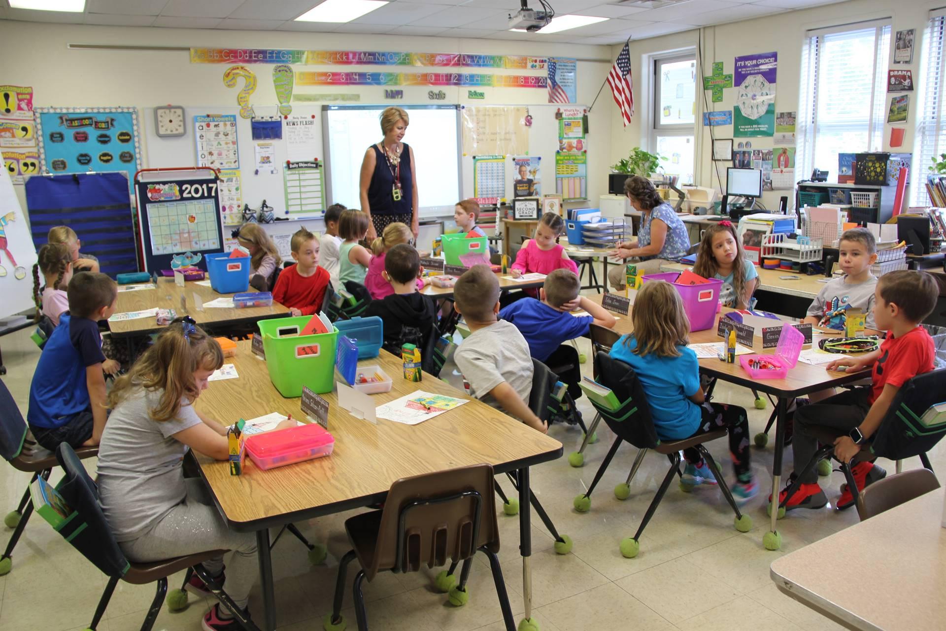 wide shot of mrs shelepaks second grade class