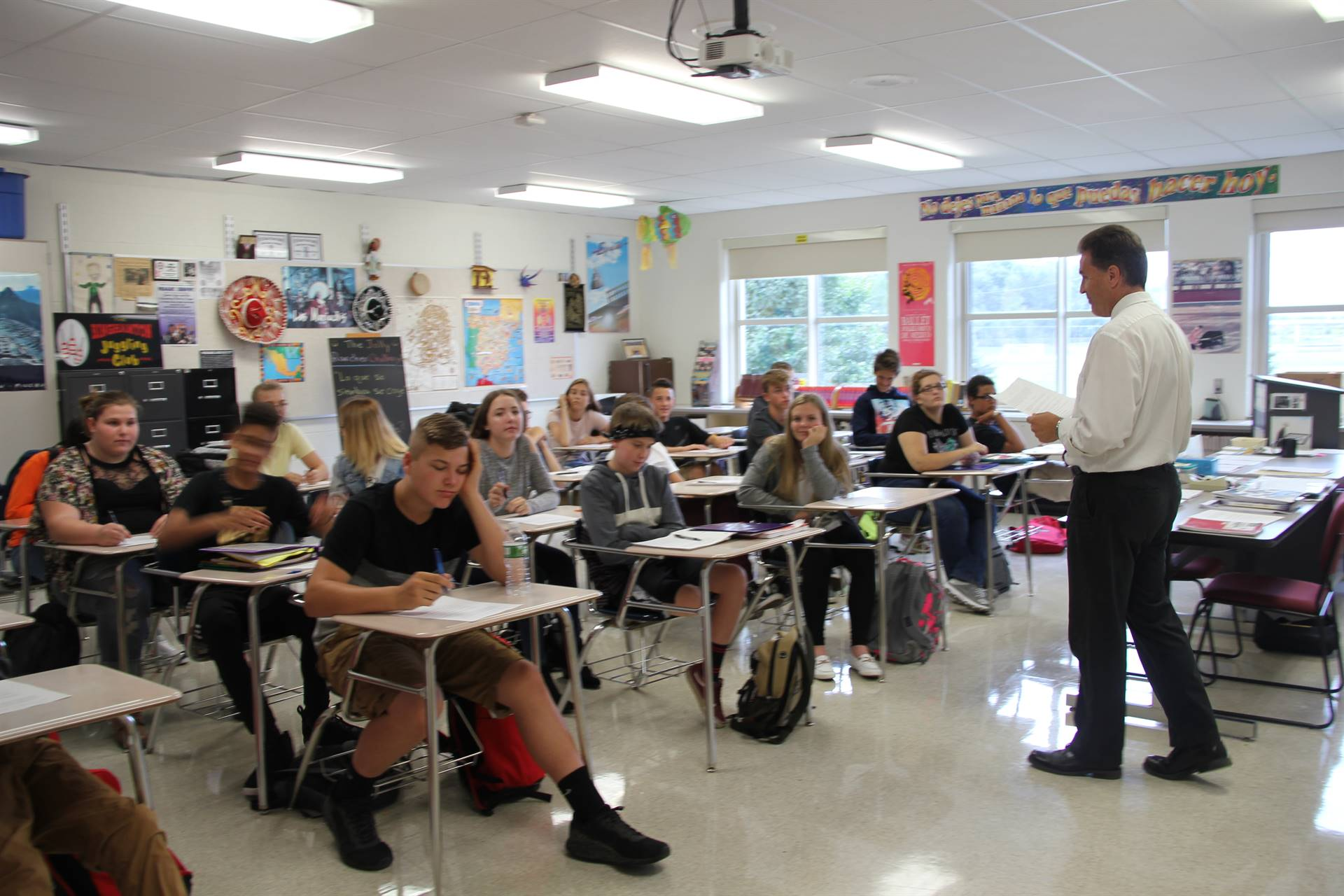 high school classroom on first day of school
