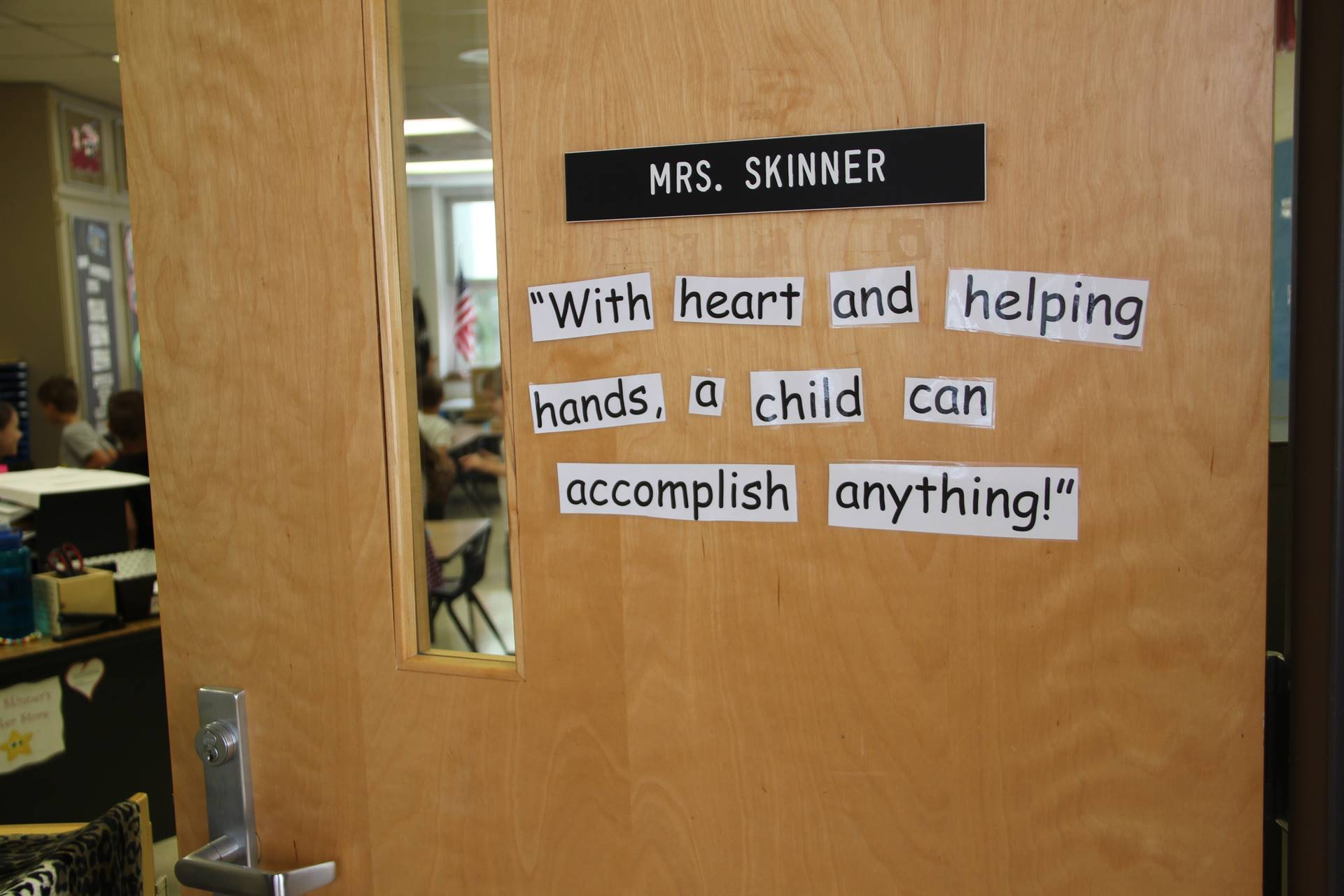 outside of port dickinson elementary classroom that reads with heart and a helping hand a student ca
