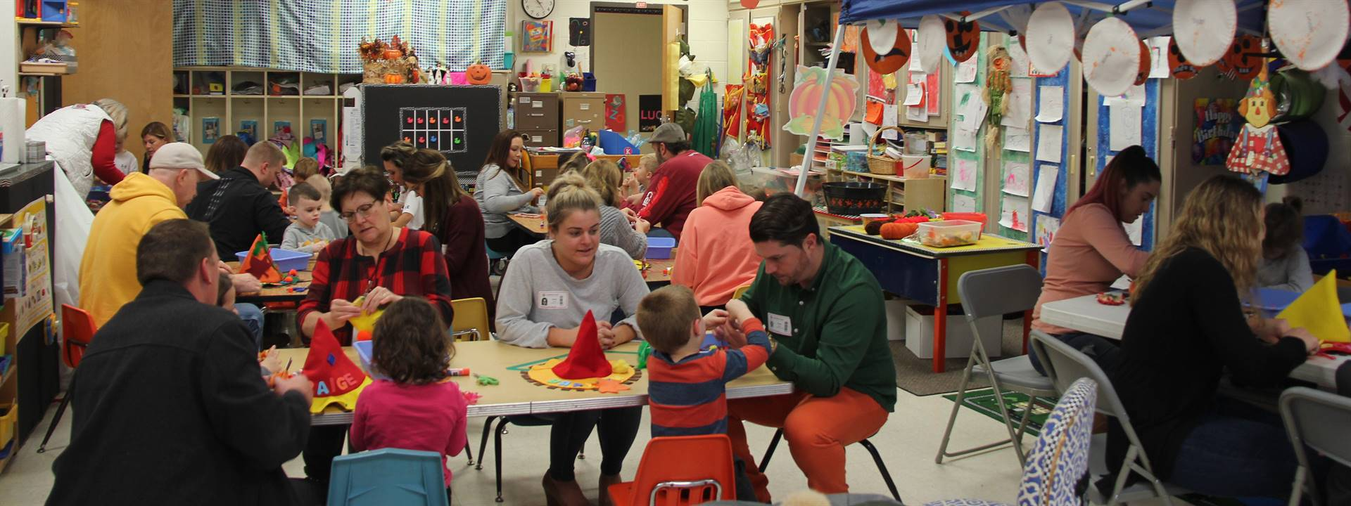 wide shot of classroom for pre k family day
