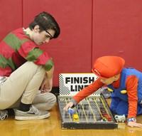 student playing racing game