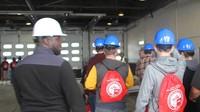 students entering building