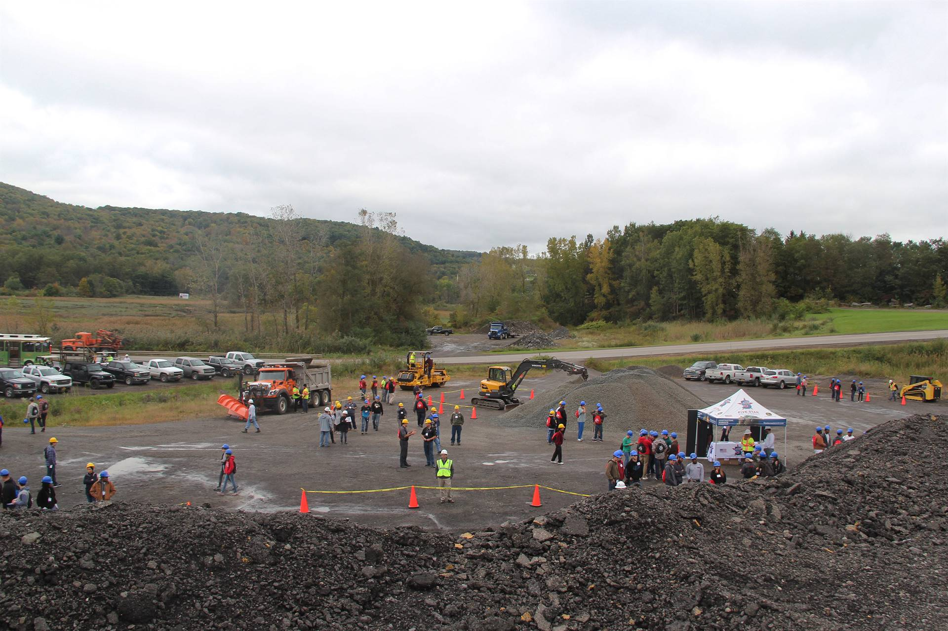 overhead view of construction career day