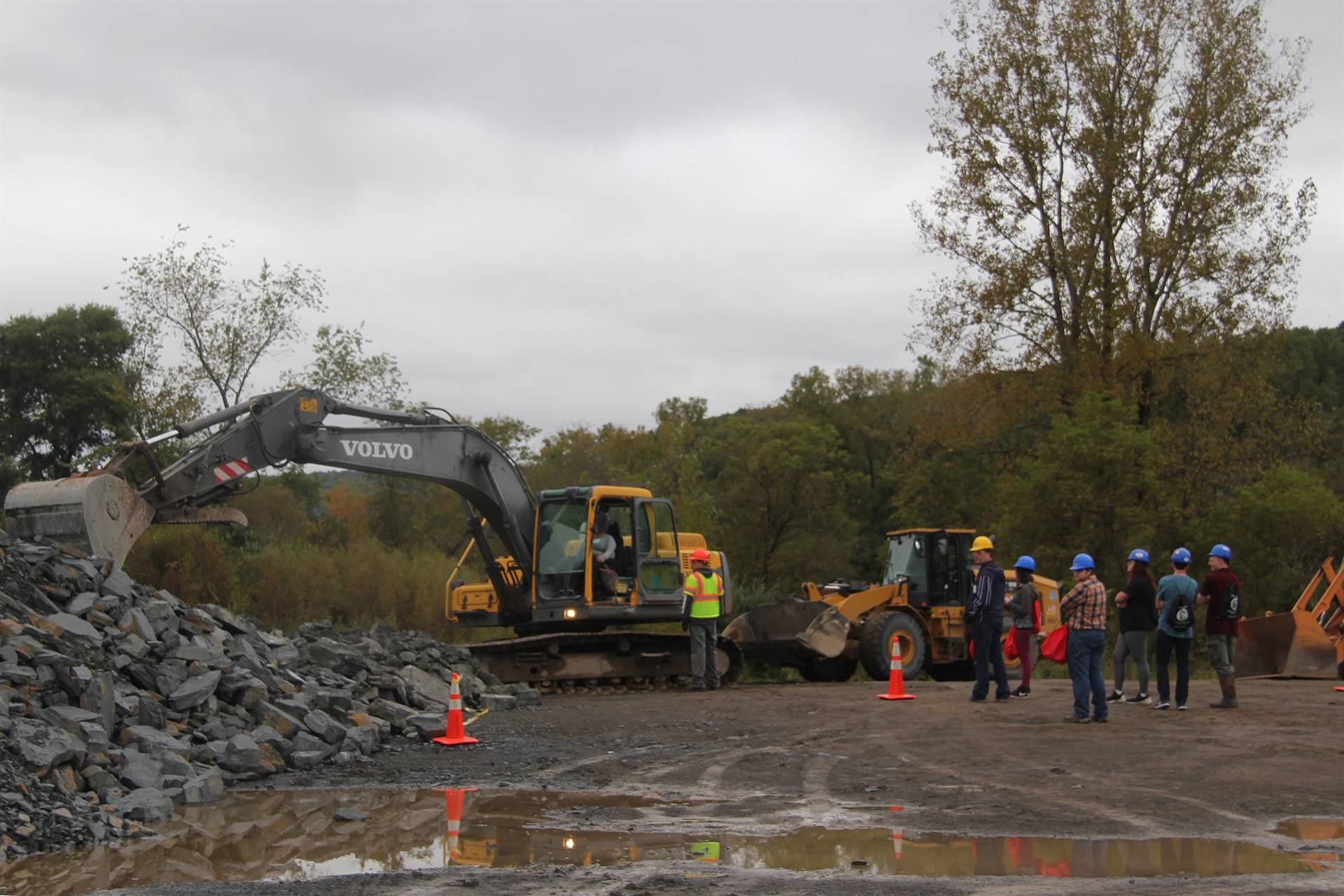 wide shot of machinery at construction career day