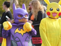 two students in halloween costumes