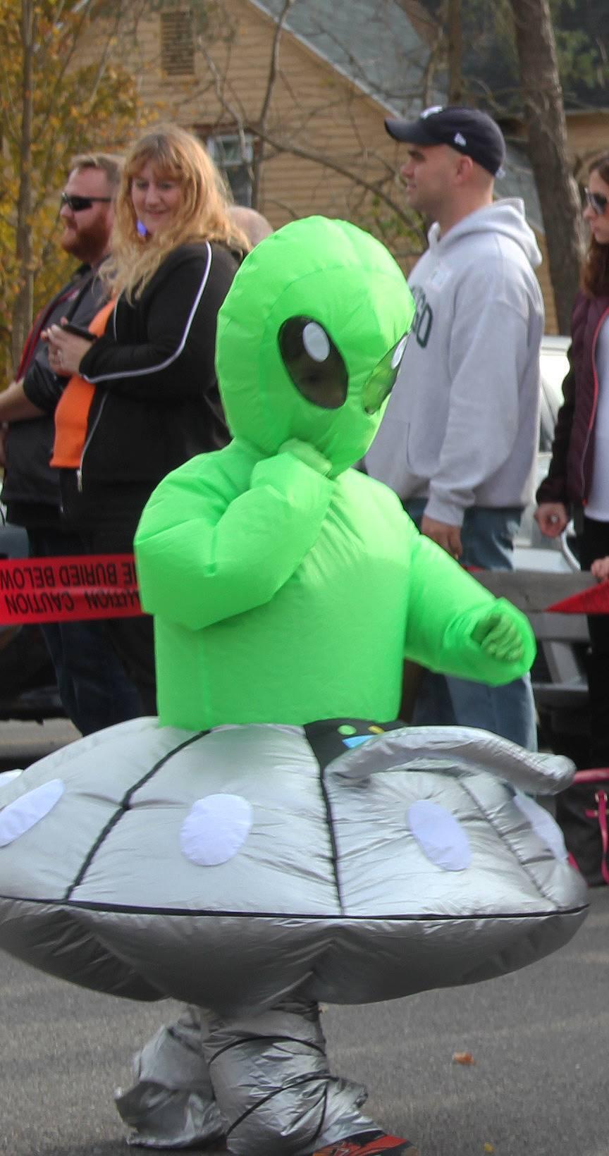 student dressed in alien halloween costume
