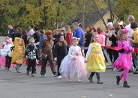 group of students parading in costumes