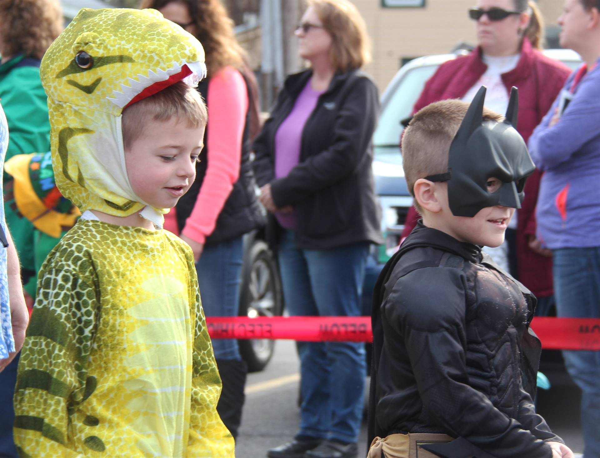 two students parading in halloween costumes