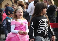 students dressed in halloween costumes