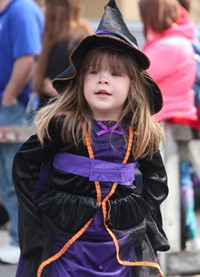 student wearing witch costume