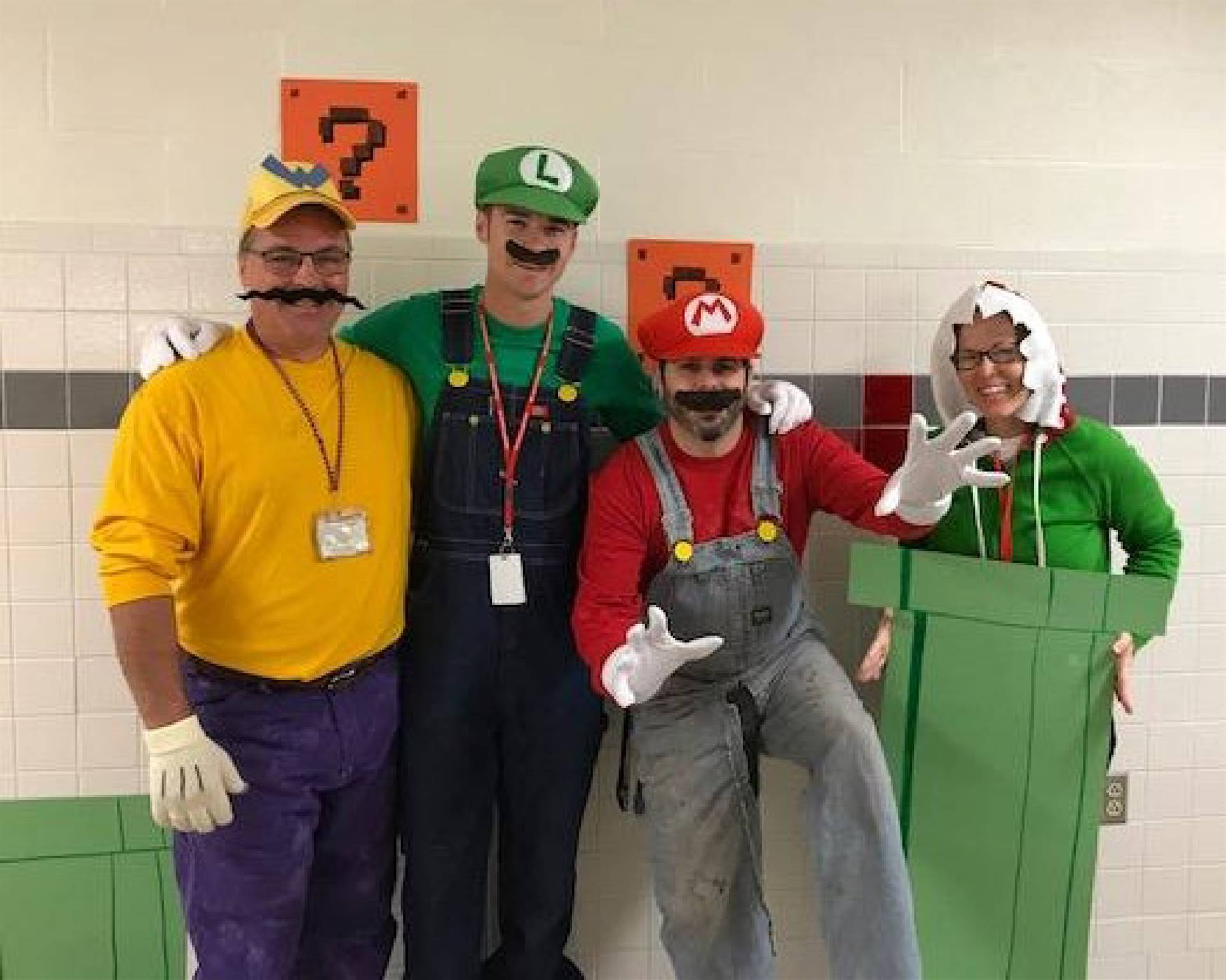 teachers dressed as mario characters