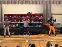 students hula hooping