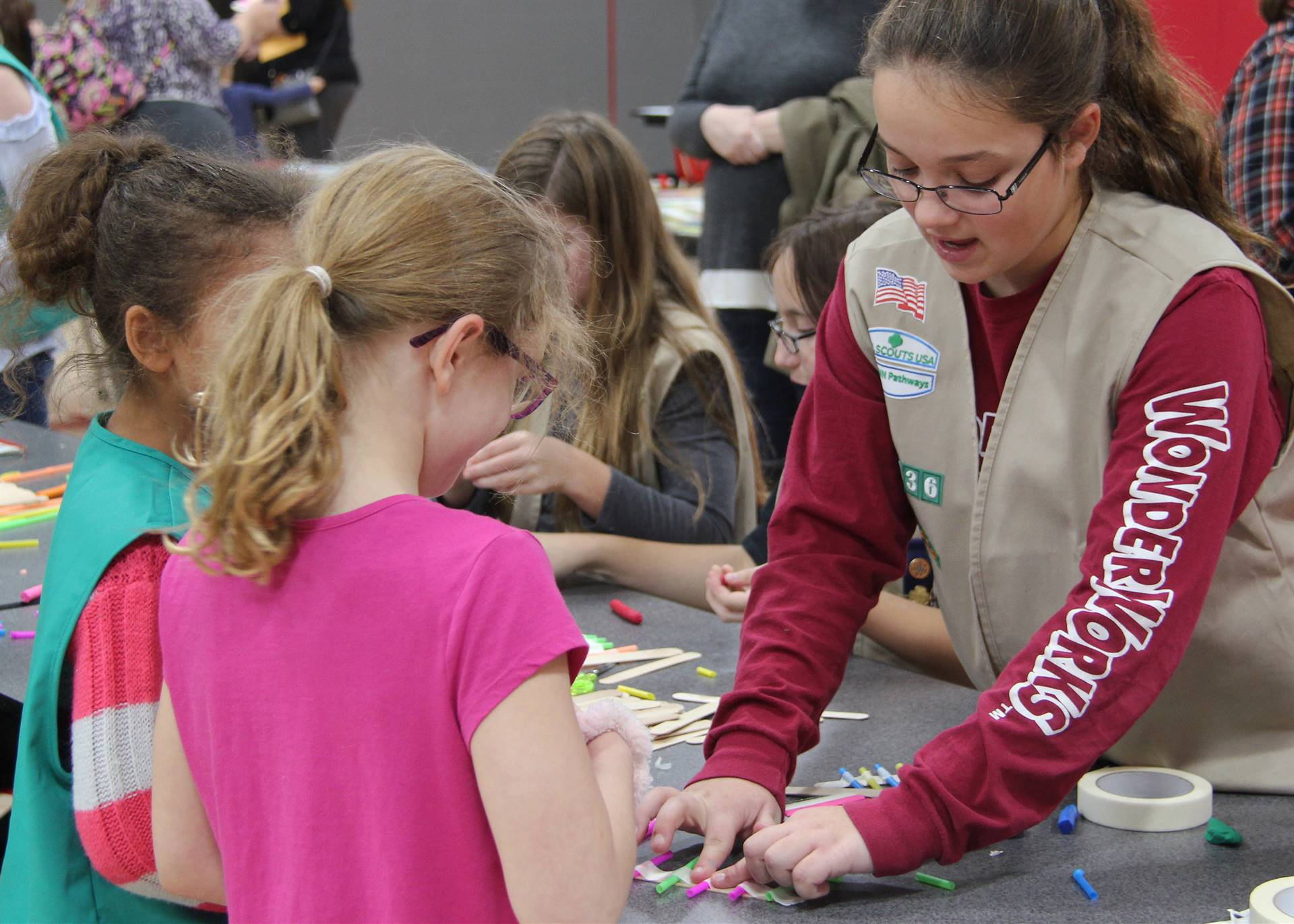 students at girl scout table
