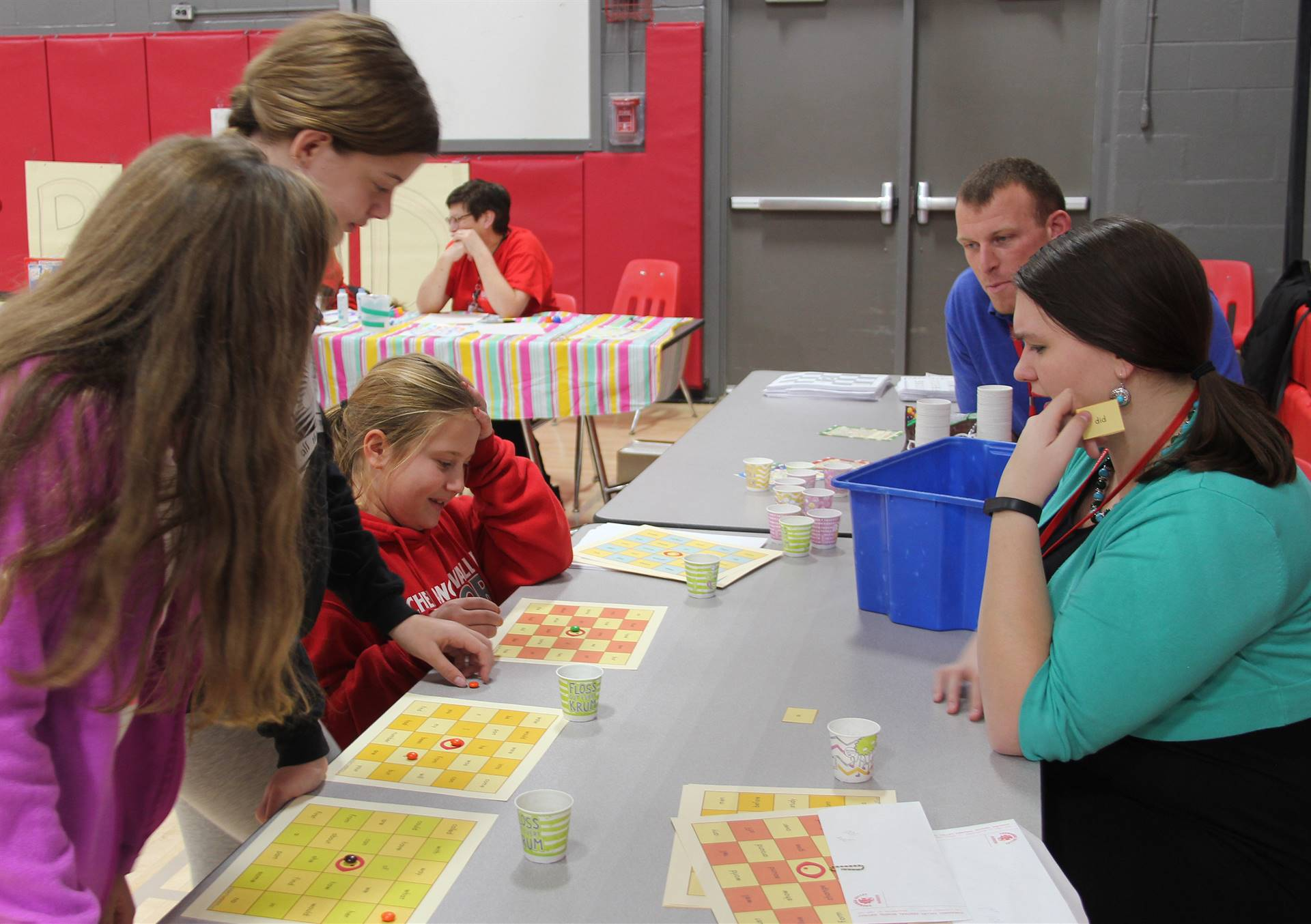 students and teachers playing activity