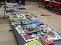 table of books for book swap